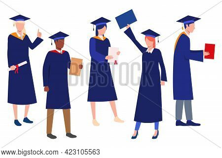 Collection Of Graduating Students. Flat Cartoon Characters Wearing Gowns And Academic Caps. Vector I