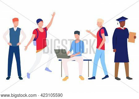 Collection Of Interracial Students Enjoying Life. Bundle Of Ambitious Students With Satchels. Vector