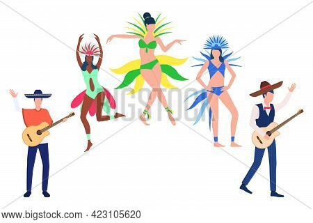Collection Of Rio De Janeiro Festival Participants. Group Of Dancers At Annual Brazilian Carnival. V