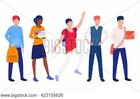 Collection Of People Getting Masters Degree. Flat Cartoon Characters Attending Class. Vector Illustr
