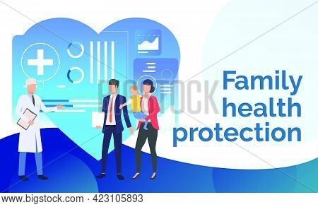 Doctor Consulting Young Family At Healthcare Center Vector Illustration. Family Practice Center, Exa