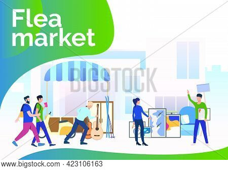 Flea Market Lettering, People Walking And Shopping Outdoors. Buying, Retail, Marketplace Concept. Pr