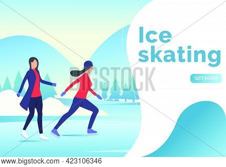 Ice Skating Lettering, Two Skater Women And Snowy Landscape. Presentation Slide Template. Lifestyle,