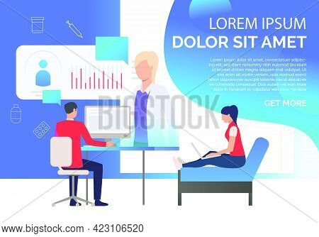 Man And Woman Watching Medical Cards Online Vector Illustration. Medical Website, Online Doctor, Hea