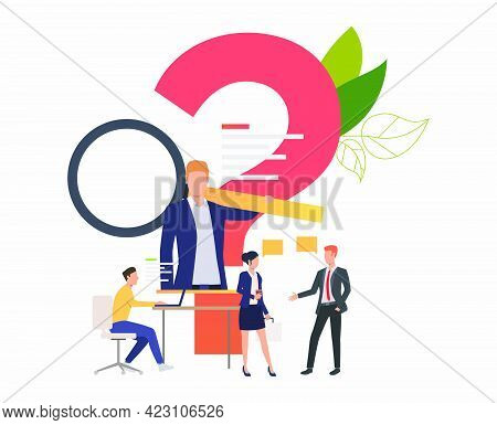 Man Browsing Information, People Talking Vector Illustration. Internet, Discussion, Faq. Search Engi