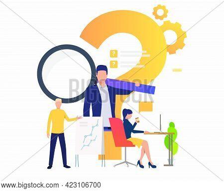 Man Explaining Chart, Woman Working With Laptop Vector Illustration. Problem, Presentation, Internet