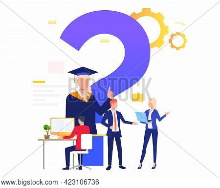 Man Working With Computer, People Talking Vector Illustration. Discussion, Helpdesk, Faq. Search Eng