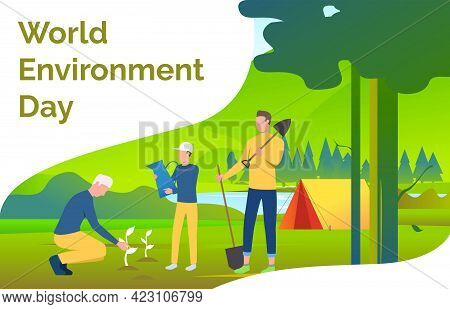 Men Holding Spades And Planting Trees In Wild Nature. Eco, Ecosystem, World, Landscape Concept. Pres