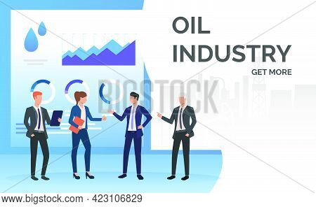 Oil Industry Business People Working And Discussing Data Charts. Negotiations, Management Concept. P