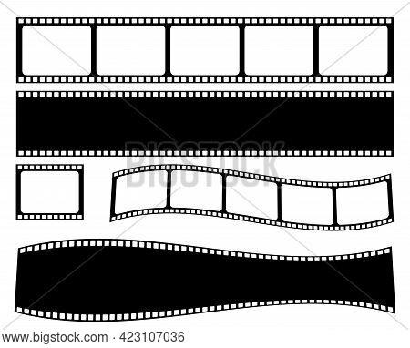 Set Of Film Strip. Cinema Strip Roll 35mm Blank Slide Frame. Vector Illustration