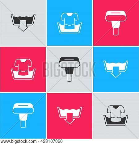 Set Washing Modes, Basin With Shirt And Garment Steamer Icon. Vector