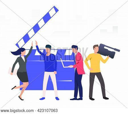 Presenters Giving Hi Five In Studio Vector Illustration. Shooting, News, Tv Show. Broadcasting Conce