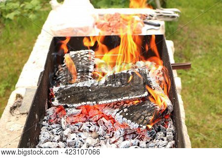 In The Grill For Frying Meat, The Flame Of Fire Burns Beautifully. Fire Destroys All Living Things.