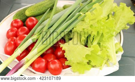 Organic Vegetables On A White Tray. Summer Vegetables From The Salad Garden. Healthy Eating With Fre