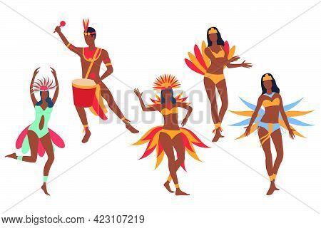 Set Of Carnival Dancers. Dark Skinned Man And Women In Bikini And Costumes Dancing And Playing Drum.