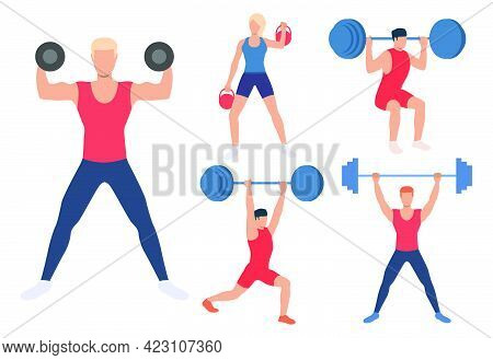 Set Of Male And Females Weight Lifters. Group Of Athletes Lifting Barbells, Dumbbells And Kettlebell