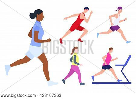 Set Of Male And Females Runners. Group Of Men And Women Running, Jogging And Training On Treadmills.