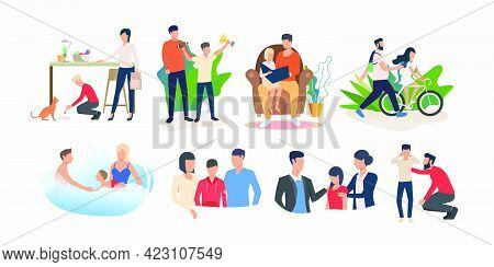 Set Of Parents Spending Time With Children And Supporting Them. Family Activities And Parenting. Vec