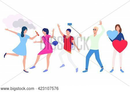 Set Of People Having Fun In Party. Young Men And Women Dancing, Holding Cracker And Heart, Taking Se
