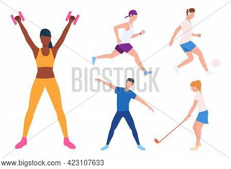 Set Of Runner, Football Player And Yogi. Group Of Athletes Running, Working In Gym, Doing Yoga And P