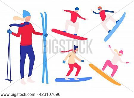 Set Of Snowboarders And Skier. Group Of Men And Women Snowboarding And Holding Skis. Winter Sport Co