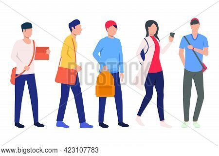 Set Of Teenage Students With Satchels. College Students With Bags And Smartphone. Vector Illustratio