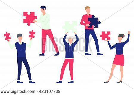 Set Of Team Members. Men And Woman Holding Puzzle Pieces. Teamwork Concept. Vector Illustration Can