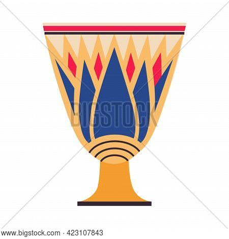 Egyptian Clay Vase With Old Floral Ornament Vector Illustration