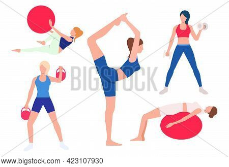 Set Of Women Training Bodies In Gym. Girls Exercising With Ball, Lifting Weights, Doing Yoga. Sport