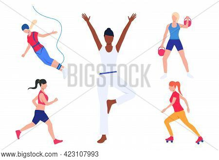 Set Of Women With Active Hobbies. Girls Doing Yoga, Running, Roller Skating, Bungee Jumping. Sport C