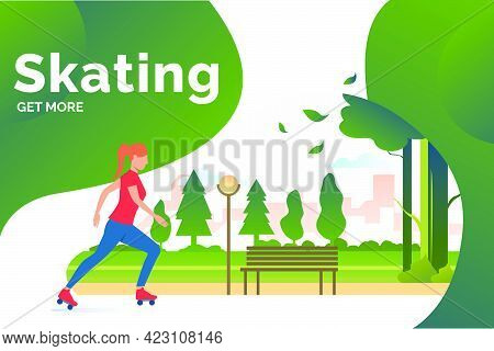 Skating Lettering, Skater Woman In Park With Distant Buildings. Lifestyle, Activity, Leisure Concept