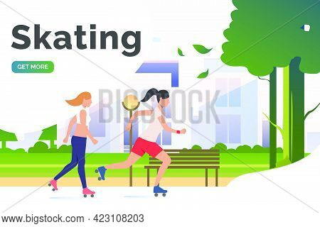 Skating Lettering, Skater Women In Park With Distant Buildings. Lifestyle, Activity, Leisure Concept