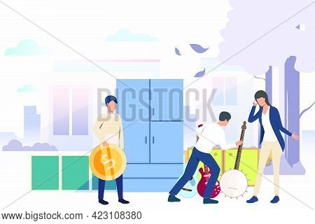 Woman And Man Selling Guitar. Shopping, Guitar, Second Hand, Money. Marketing Concept. Vector Illust