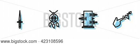 Set Line Trunk For Magic Tricks, Dagger, Dream Catcher With Feathers And Spell Icon. Vector
