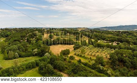 Stunning Aerial View Of The Tuscan Countryside With Its Characteristic Spring Colors.