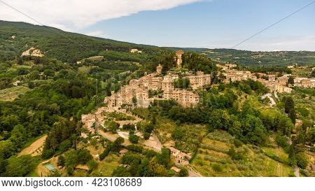 Stunning Aerial View Of The Medieval Tuscan Village Of Cetona