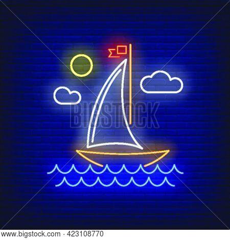 Cartoon Sailing Ship Neon Sign. Vessel, Voyage, Adventure Design. Night Bright Neon Sign, Colorful B