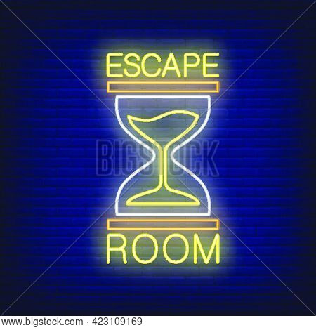 Escape Room Neon Sign. Text And Sandglass On Brick Wall Background. Glowing Banner Or Billboard Elem