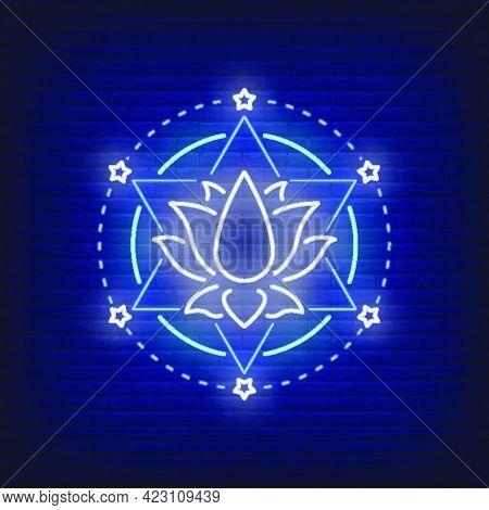 Lotus Flower And Hexagram Star Neon Sign. Meditation, Spirituality, Yoga Design. Night Bright Neon S