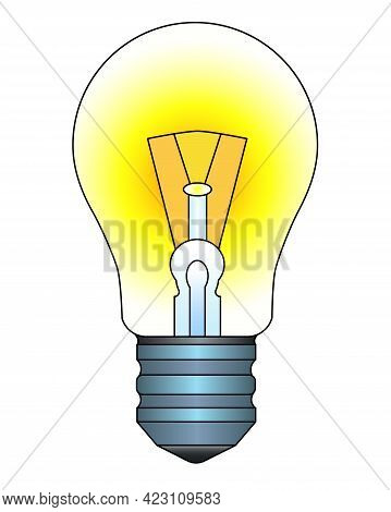 Light Bulb. Burning Incandescent Lamp - Vector Full Color Illustration. A Vintage Light Bulb Is A Sy