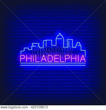 Philadelphia Neon Lettering And City Buildings Silhouette. Sightseeing, Tourism, Travel Design. Nigh