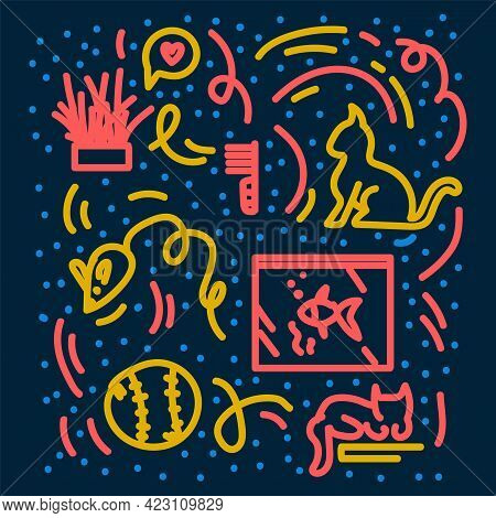 Background With Doodle Pet Icons. Pattern For Pet Supplies Prints. Man And Cats, Dogs For Textile Pa