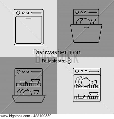 Dishwasher Linear Icons Set. Customizable Linear Contour Symbol. Editable Stroke. Isolated Vector St