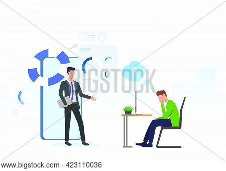 Business Consultant And Thoughtful Man Working On Laptop. Planning, Marketing, Information Concept.