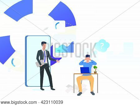 Business Consultant And Puzzled Man Working On Laptop. Planning, Marketing, Information Concept. Vec