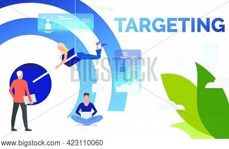 Business People Setting Arrow In Financial Target. Planning, Management, Strategy Concept. Presentat