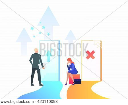 Businesspeople Making Career. Promotion, Failure, Open Door, Unequal Career Opportunities. Business