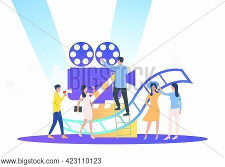 Camera Crew Preparing For Film. Camera, Scenario, Actors. Filmmaking Concept. Vector Illustration Fo