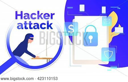 Cyber Burglar Hacking Into Device. Tablet With Lock On Screen, Fire, Money, Email, Shield Signs. Dat