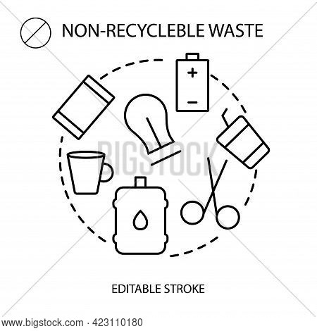 Non Recyclable Garbage Collection Outline Icon. Trash Sorting. Editable Stroke. Isolated Vector Stoc